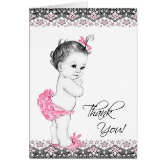 Carte de remerciements rose et noir adorable de