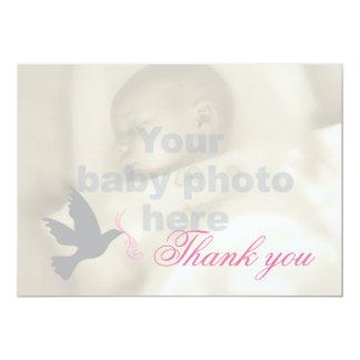 Carte de remerciements rose sombre de photo de carton d'invitation  12,7 cm x 17,78 cm
