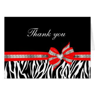 Carte de remerciements rouge blanc noir de zèbre