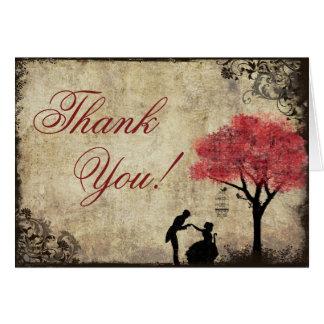 Carte de remerciements rouge de cru de proposition