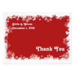 Carte de remerciements rouge de flocons de neige faire-part personnalisés
