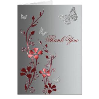 Carte de remerciements rouge et argenté de papillo