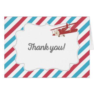 Carte de remerciements rouge et bleu d'avion