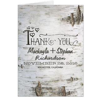 carte de remerciements rustique de mariage