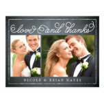 Carte de remerciements rustique de mariage de fron cartes postales