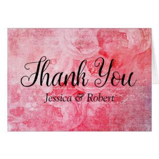 Carte de remerciements rustique de vieux rose rose