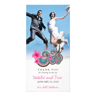 Carte de remerciements tropical de mariage de photocarte