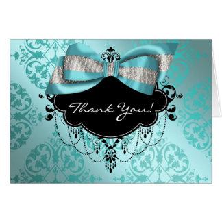 Carte de remerciements turquoise de damassé de