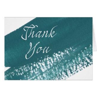 Carte de remerciements turquoise moderne de brosse