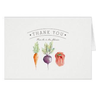 Carte de remerciements végétarien d'aquarelle de