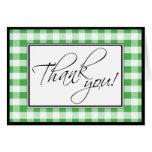 Carte de remerciements vert de coutume de guingan