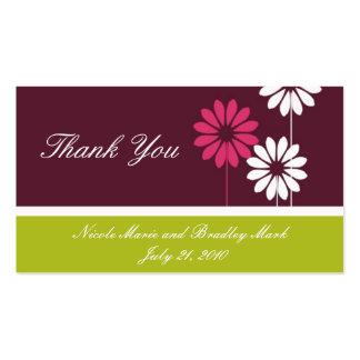 Carte de remerciements vert de mariage de carte de visite standard
