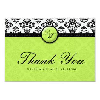 Carte de remerciements vert de mariage de carton d'invitation 8,89 cm x 12,70 cm