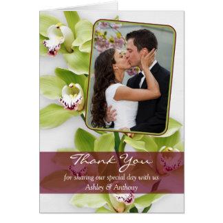 Carte de remerciements vert de mariage d'orchidée