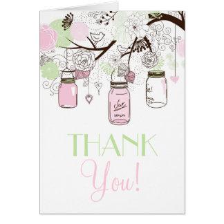 Carte de remerciements vert de pots de maçon de