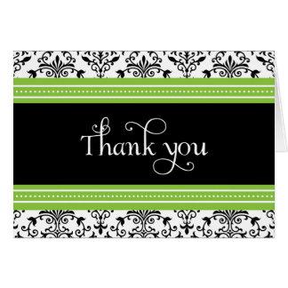 Carte de remerciements vert et noir élégant de