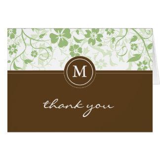 Carte de remerciements vert floral de monogramme