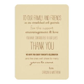 Carte de remerciements Vintage| beige rustique de Carton D'invitation 12,7 Cm X 17,78 Cm