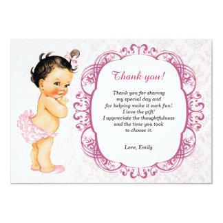 Carte de remerciements vintage de damassé de bébé