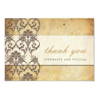 Carte de remerciements vintage de mariage de carton d'invitation 8,89 cm x 12,70 cm