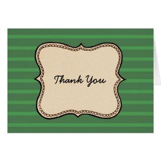 Carte de remerciements vintage de rayure de vert