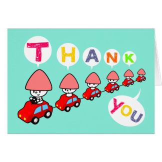 Carte de remerciements - voiture avec de petites