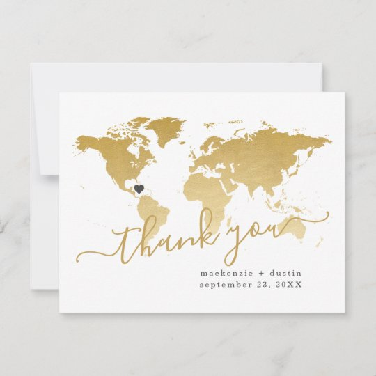Carte De Remerciements World Map Destination Wedding Gold personnalisé