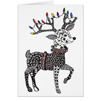 Carte de renne de lumières de Noël