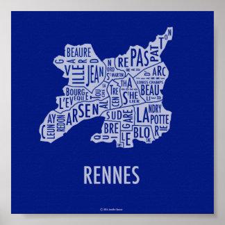 Carte de Rennes France Posters