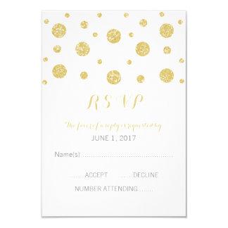 Carte de réponse de confettis de scintillement carton d'invitation 8,89 cm x 12,70 cm