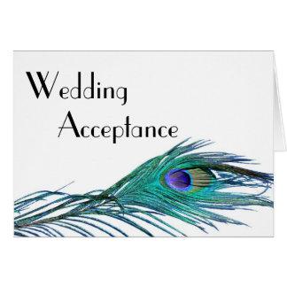 Carte de réponse de mariage de paon