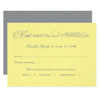 Carte- de réponse de mariage | jaune et gris carton d'invitation 8,89 cm x 12,70 cm