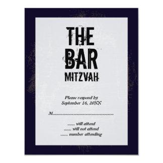 Carte- de réponse de Mitzvah de barre de groupe de Carton D'invitation 10,79 Cm X 13,97 Cm