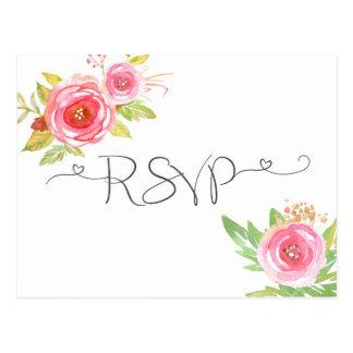 Carte- de réponse florale rose de l'aquarelle RSVP Carte Postale