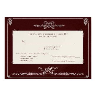 Carte de réponse carton d'invitation  12,7 cm x 17,78 cm