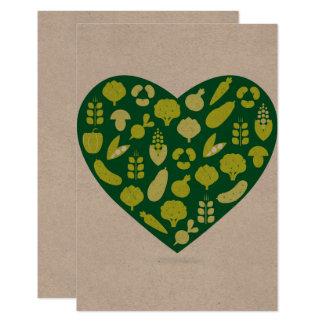 Carte de réponse : Le coeur végétal réutilisent Carton D'invitation 8,89 Cm X 12,70 Cm