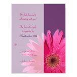 Carte- de réponse pourpre et rose de mariage de invitation personnalisée