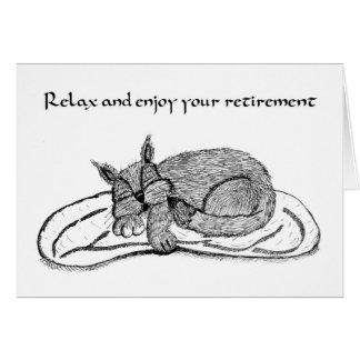 Carte de retraite avec le chat de sommeil