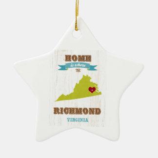 Carte de Richmond, la Virginie - à la maison est Ornement Étoile En Céramique