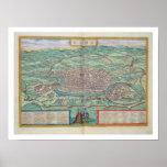"""Carte de Rome, de """"Civitates Orbis Terrarum"""" par G Poster"""