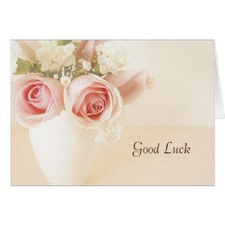 Carte de rose et blanche rose d'oeillets de bonne