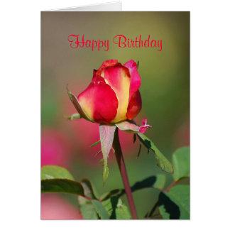 Carte de rose rouge et jaune de joyeux