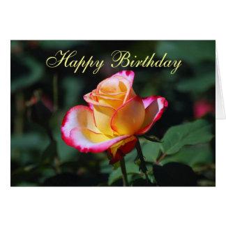 Carte de rose rouge, jaune et blanc de joyeux