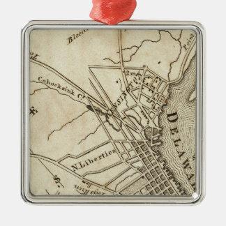 Carte de route de Philadelphie Ornement Carré Argenté