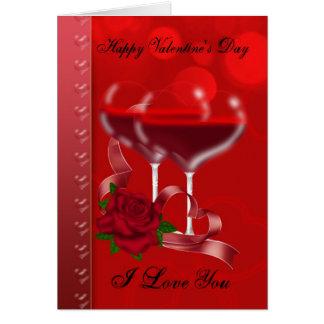 Carte de Saint-Valentin avec le vin rouge en forme