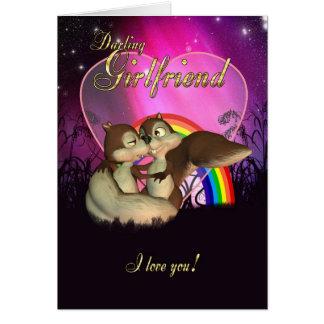 Carte de Saint-Valentin d'amie avec amour mignon