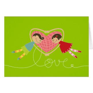 Carte de Saint-Valentin d'amour de fille de coeurs