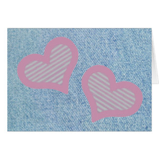 Carte de Saint-Valentin de coeurs de n de denim '