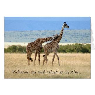 Carte de Saint-Valentin de girafe