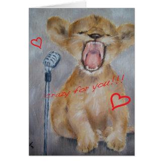 Carte de Saint-Valentin de lion de bébé